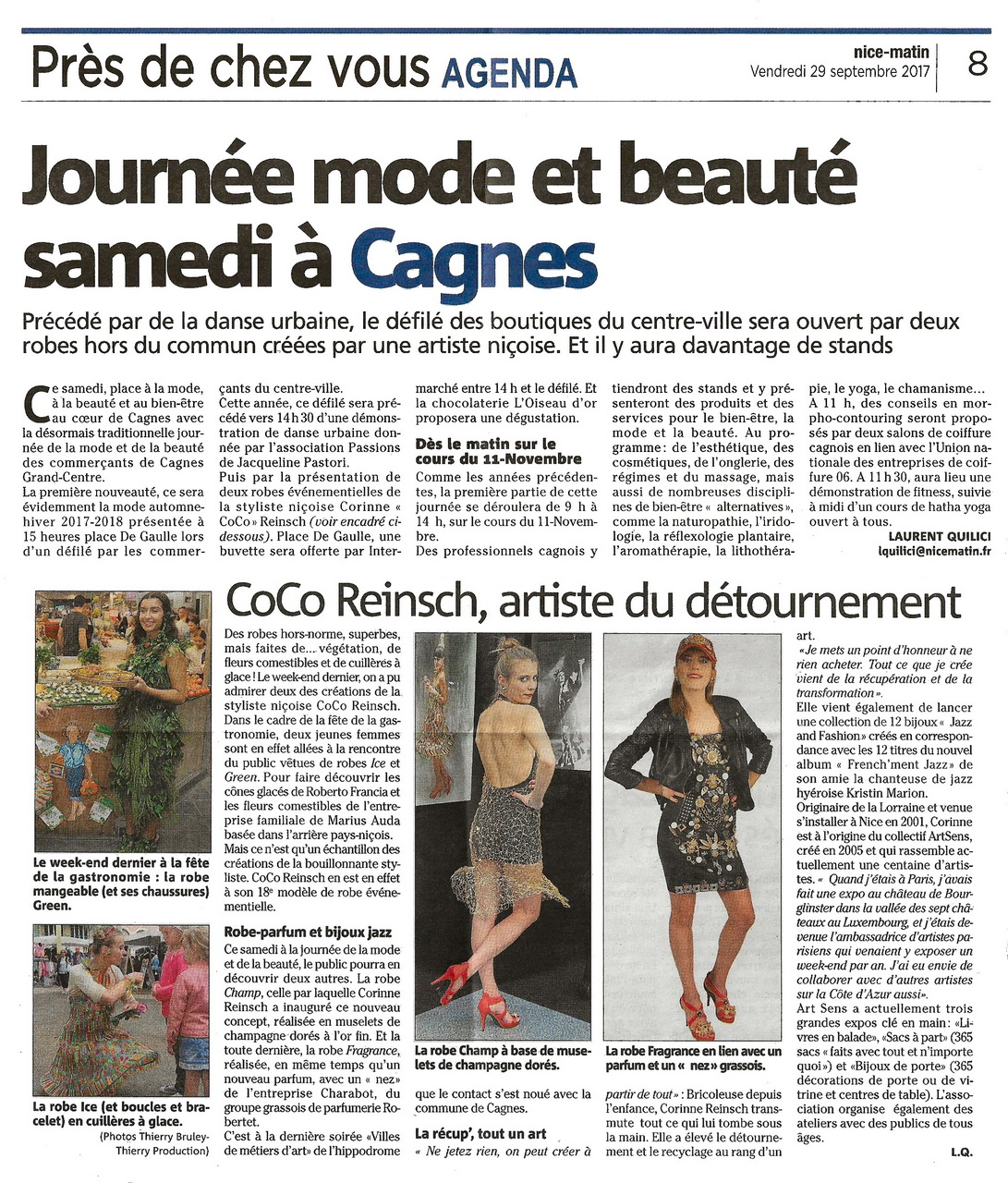 Nice Matin 29 09 2017 Ed. Cagnes sur Mer